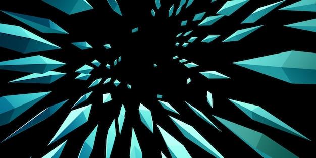 Zoom design explosion of sharp lines and triangular light 3d illustration