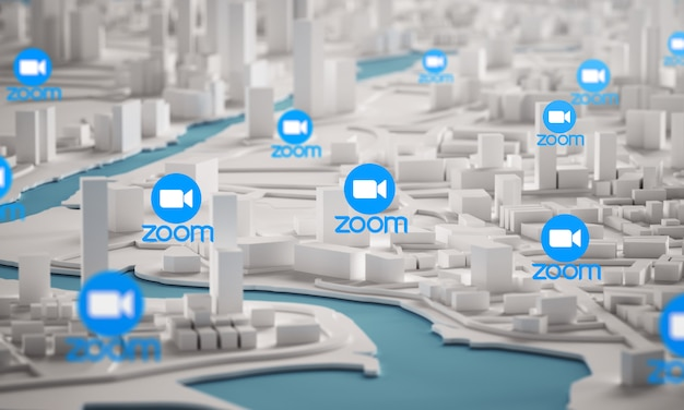 Zoom icon over aerial view of city buildings 3d rendering
