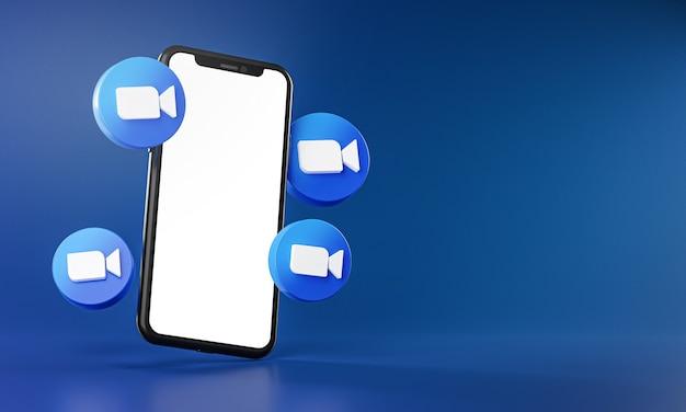 スマートフォンアプリの3dレンダリング周辺のズームアイコン