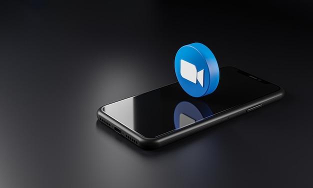 Zoom logo icon over smartphone, 3d rendering