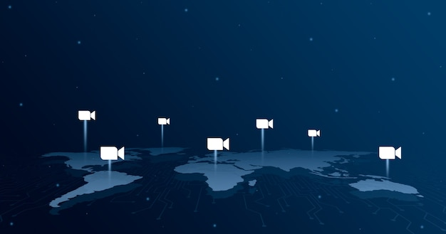세계지도 3d의 모든 대륙에 로고 아이콘 확대