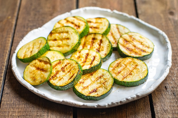 Zucchini grilled vegetables healthy snack vegetable on the table copy space food background rustic