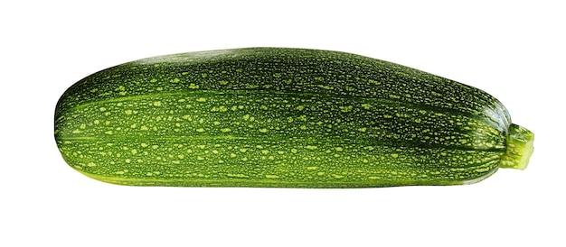白い背景に分離されたズッキーニ。単一の緑の野菜。