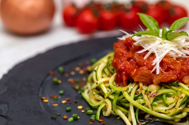 Zucchini spaghetti with dehydrated pepperoni pepper