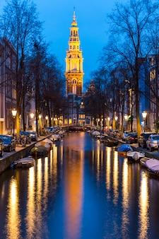 南教会zuiderkerkアムステルダムの夕暮れ