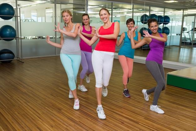 Zumba class dancing in studio