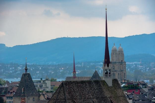 취리히 센터. 고대 유럽 도시의 이미지, 위에서 볼 수 있습니다.