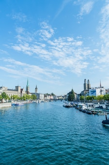 Zurich city center with famous fraumunster and grossmunster churches and river limmat