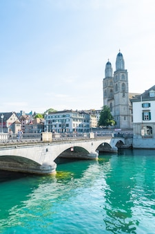 Zurich, switzerland -23 aug 2018 - a landscape view of zurich on the limmat river and the lake zurich. the swiss city is a global center for finance and insurance.