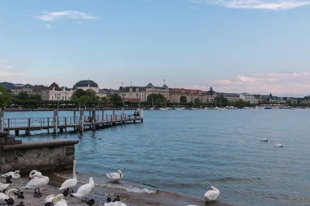 취리히, 스위스 - 2017년 6월 21일: 취리히 시의 역사적 중심지에 있는 취리히 호수와 오페라 하우스에서 볼 수 있습니다. 여름 풍경, 햇살 날씨, 푸른 하늘과 화창한 날