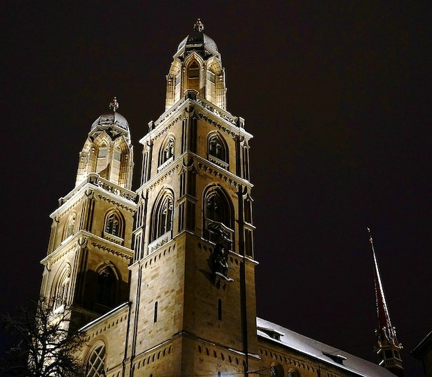 Zurich tower dark church light night shadow