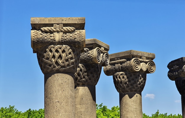 Zvartnots, ruins of ancient temple in armenia