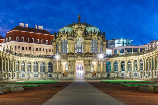 Zwinger at night in dresden, germany