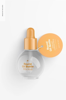 0.5 oz round oil bottle mockup, top view