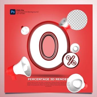 0パーセント3d要素を含む赤色をレンダリングします