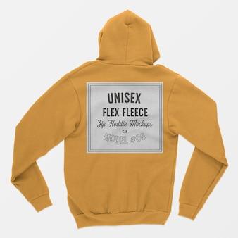 ユニセックスフレックスフリースジップフーディーモックアップ06