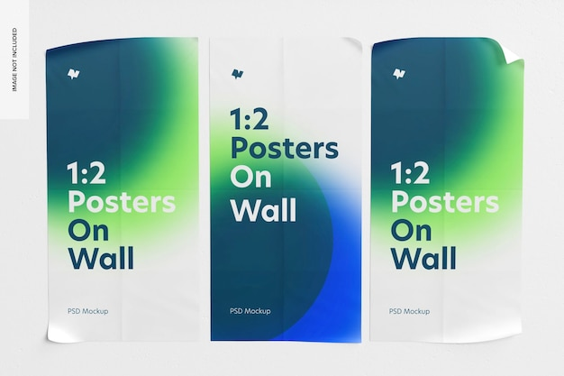 1:2 posters on wall mockup