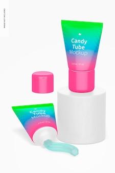 1,23 унции candy tube mockups, standing и dropped