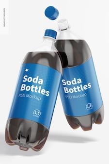 Мокап бутылки газировки 1,5 л, падающий