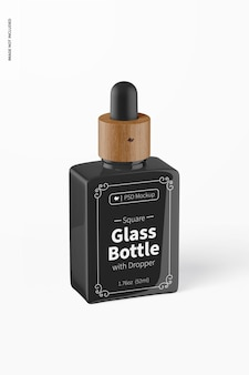 Квадратная стеклянная бутылка 1,76 унции с макетом капельницы