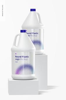 Мокап круглых пластиковых кувшинов объемом 1 галлон, вид спереди