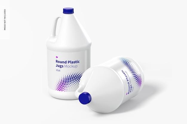 Мокап круглых пластиковых кувшинов объемом 1 галлон