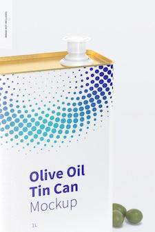 Мокап прямоугольной жестяной банки с оливковым маслом на 1 литр
