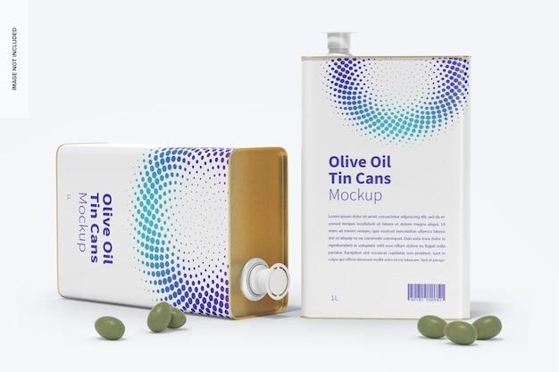 Мокап прямоугольных жестяных банок с оливковым маслом на 1 литр Premium Psd