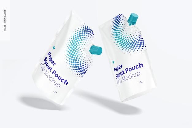Мокапы бумажных пакетов с носиком на 1 литр, плавающие Premium Psd