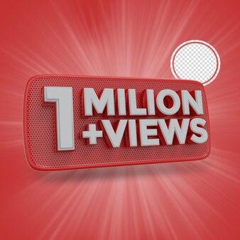 100万人の加入者3dレンダリング