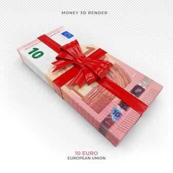 Денежный пакет 10 евро с подарочной лентой