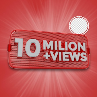 1000万人の加入者の3dレンダリング