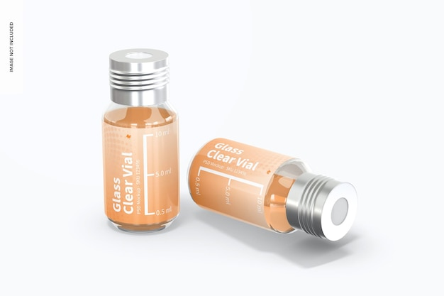 10 ml glass clear vial mockup, standing and dropped