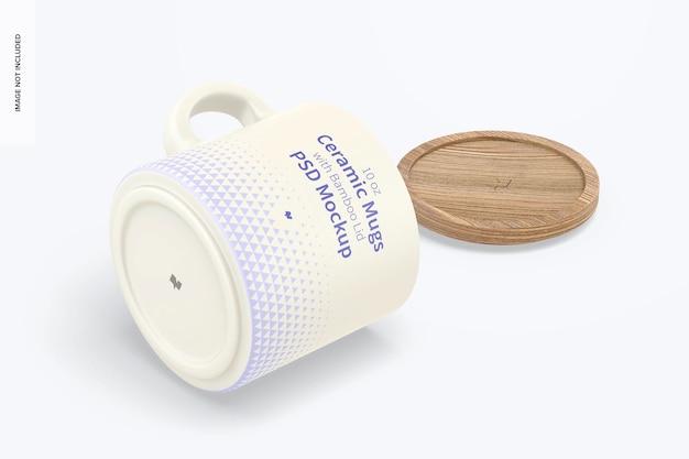 Tazze in ceramica da 10 once con coperchio in bambù mockup, vista isometrica