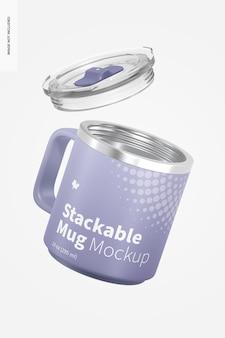 10オンスの積み重ね可能なマグカップモックアップ、フローティング