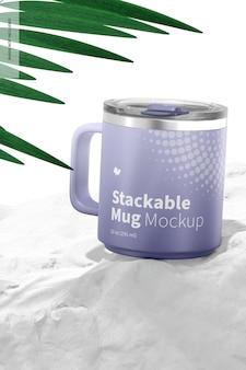 10オンスの積み重ね可能なマグカップモックアップ、展望