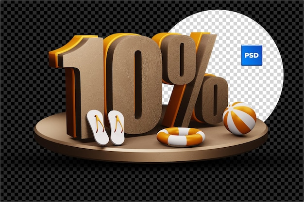 10 percent 3d summer sale discount badge isolated