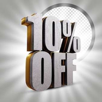 10 percent off metallic golden 3d text rendering illustration