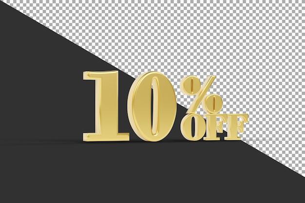 Скидка 10% с изолированным 3d-рендерингом золотого цвета