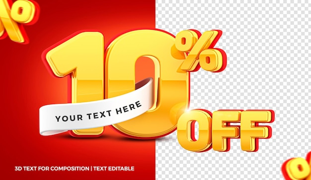 10 percent offer  in 3d rendering isolated