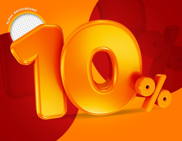 10 percent offer label 3d rendering isolated