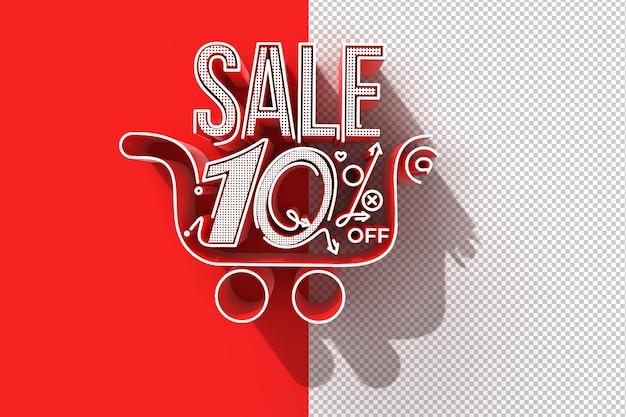 10-процентная распродажа со скидкой для корзины покупок баннер прозрачный psd файл