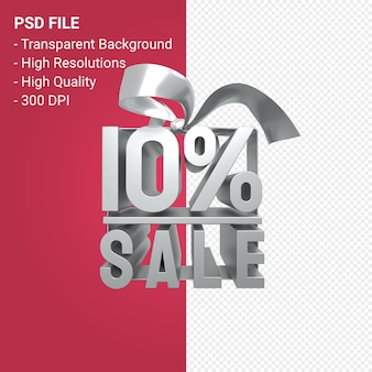 10 percent sale with bow and ribbon 3d design isolated
