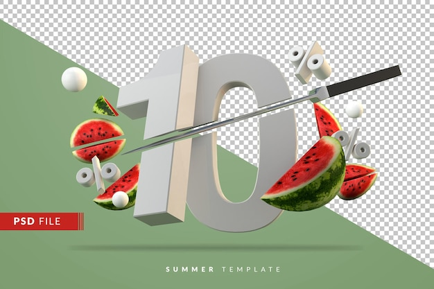 10 percent and sliced watermelon fruit rendering