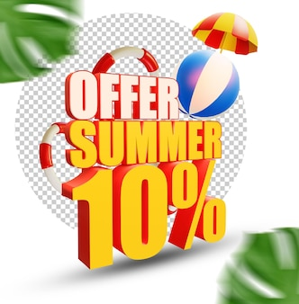 10 percent summer offer 3d text style isolated