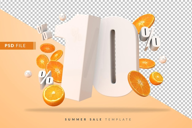 10 percent summer sale concept with cut oranges in 3d render