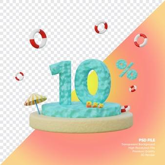 10 percent summer sale concept with ocean number podium 3d render