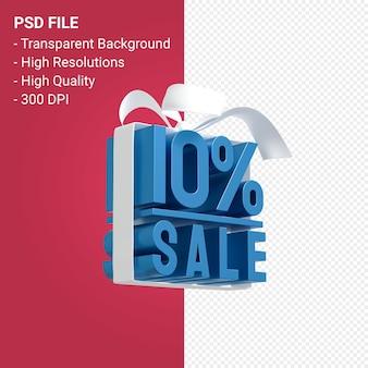 10-процентная распродажа с бантом и лентой 3d-дизайн изолированы