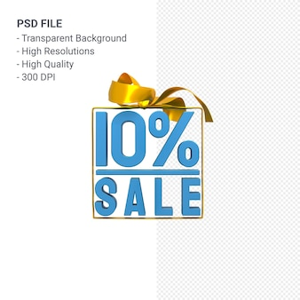 10 percentage sale with bow and ribbon 3d design isolated