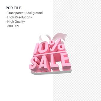 Продажа 10% с бантом и лентой 3d дизайн изолированы